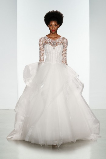 beaded long sleeve tulle ballgown by Kenneth Pool