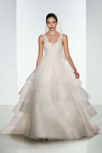 tulle kenneth pool bridal ball gown with lace bodice